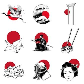 Vecteurs de style de tradition japonaise