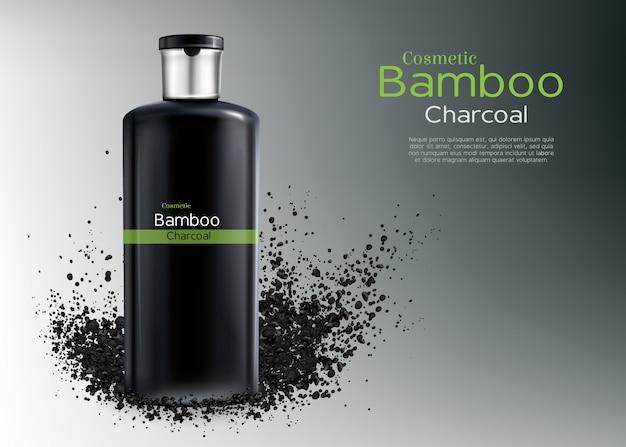 Vector 3d affiche publicitaire réaliste avec des cosmétiques de charbon de bois