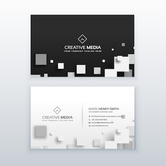 Vector 3d quare business card design