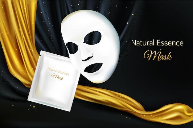 Vector 3d réaliste maquette de masque cosmétique facial feuille blanche pour les femmes
