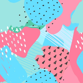 Vector abstract seamless pattern éléments colorés dessinés main collage papier