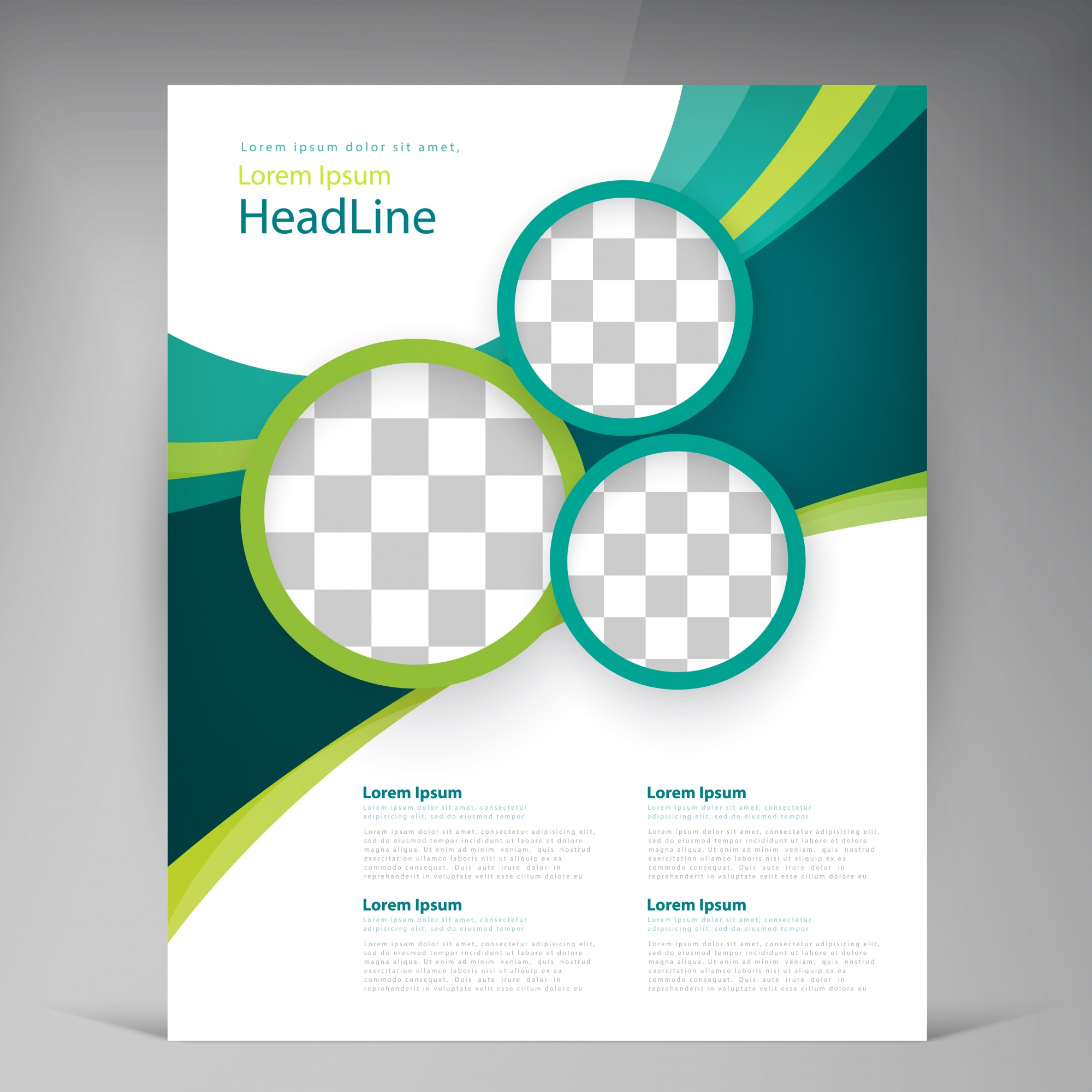 Vector abstract template design flyer, cover with turquoise and green multicayer stripes