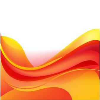 Vector abstrait ondulé fond brillant, ensoleillé, rouge et orange