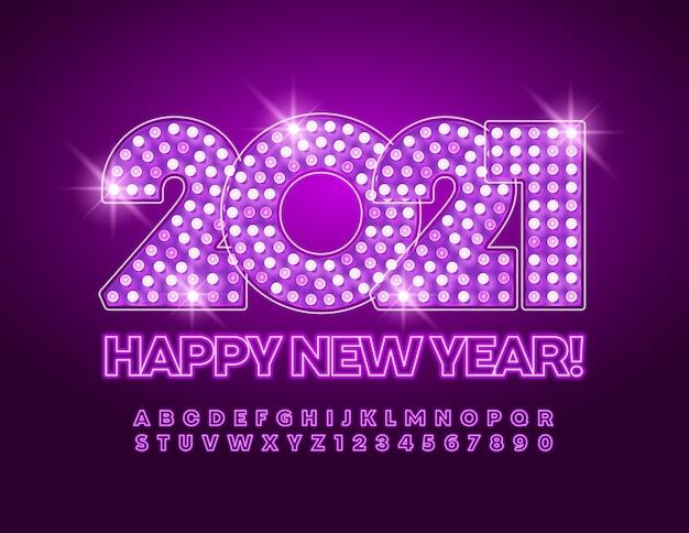 Vector allumer la discothèque happy new year 2021 carte de vœux