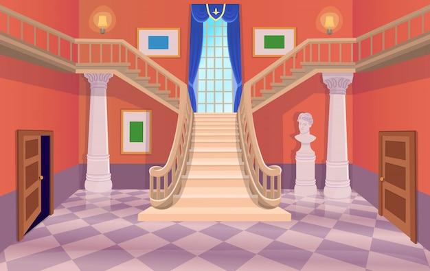 Vector ancienne salle de hall avec escaliers, portes et une fenêtre. illustration de dessin animé.