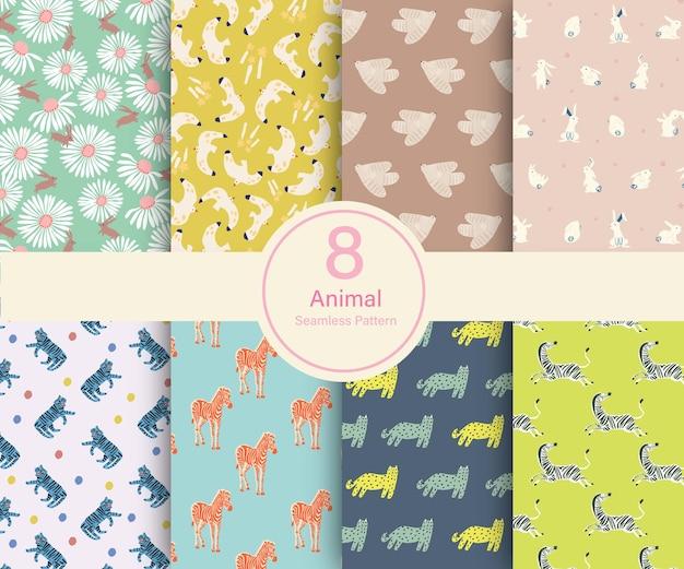 Vector animal theme illustration 8 types de motifs de répétition collection set chat lapin oiseau zèbre
