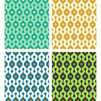 Vector arrondie abstraite seamless patterns set dans diverses couleurs