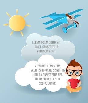 Vector art papier de nuage et avion volant dans le ciel. modèle de publicité