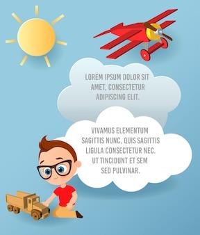 Vector art papier de nuage et voiture. modèle de publicité