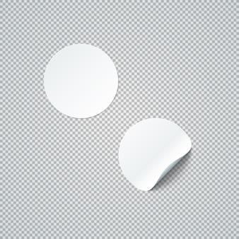 Vector blanc mock up cercle de papier rond déformé peel off illustration autocollant coin réaliste avec la conception de modèle d'ombre isolé sur fond transparent