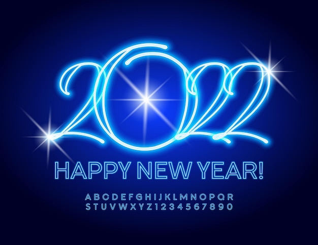 Vector blue light greeting card happy new year 2022 glowing trendy police alphabet néon électrique
