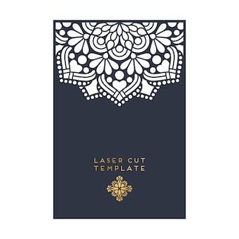 Vector carte de mariage modèle de coupe laser vintage éléments décoratifs