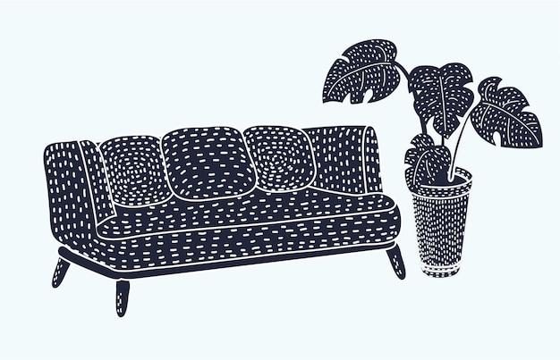 Vector cartoon canapé noir isolé sur fond blanc