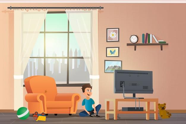 Vector cartoon illustration concept enfants heureux