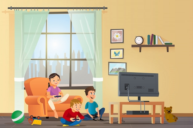 Vector cartoon illustration concept enfants heureux