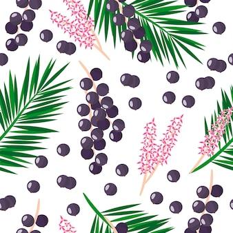Vector cartoon pattern avec euterpe oleracea ou acai palm fruits exotiques, fleurs et feuilles sur fond blanc