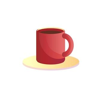 Vector cartoon plat tasse de café isolé sur fond vide-restaurant, concept de café et de restauration, conception d'annonce de bannière de site web