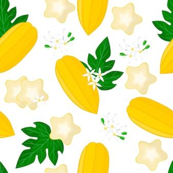 Vector cartoon seamless pattern avec carica pentagona ou babaco fruits exotiques, fleurs et feuilles sur fond blanc