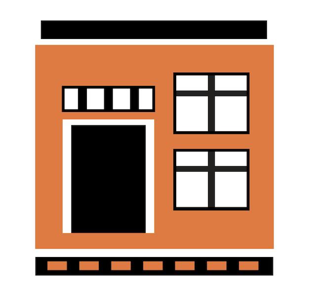Vector city building appartement résidentiel couleur plate construction de maison unique pour la conception et la décoration de l'illustration stock sur fond blanc