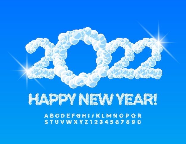 Vector creative greeting card happy new year 2022 fluffy snowy alphabet letters and numbers set