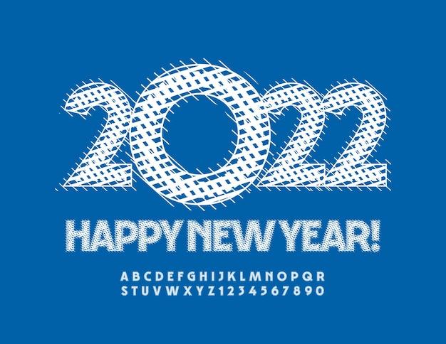 Vector creative greeting card happy new year 2022 modèle tricoté alphabet lettres et chiffres ensemble