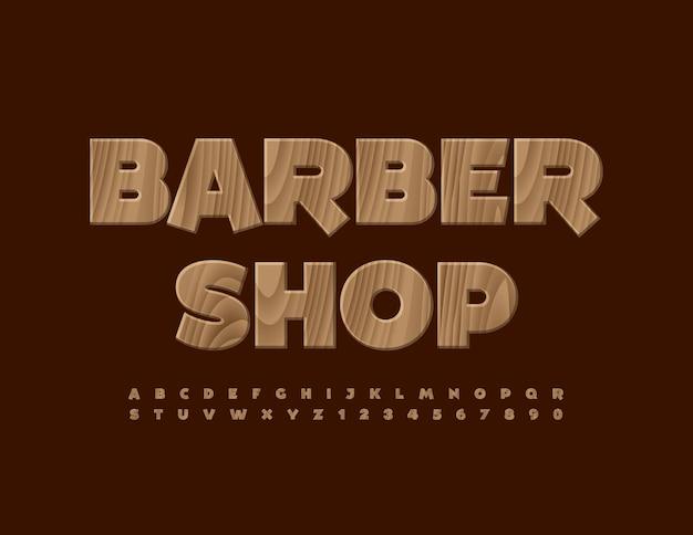 Vector creative logo barber shop tree police texturée en bois à la mode alphabet lettres et chiffres ensemble