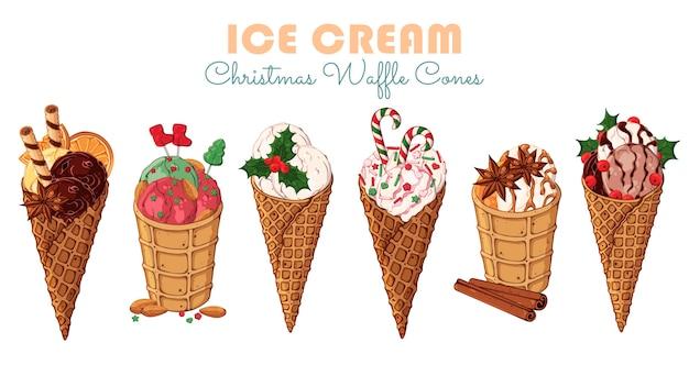 Vector crème glacée de noël dans les cônes de gaufres.