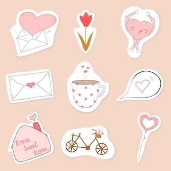 Vector cute collection cartoon style doodle sur l'amour enveloppe coeur tasse à café sweet home