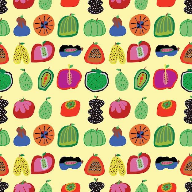 Vector cute handdrawn légumes et fruits illustration motif de répétition sans couture décor à la maison imprimer