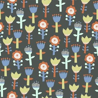 Vector cute scandinavie fleur illustration motif motif de répétition sans couture décoration cuisine imprimer