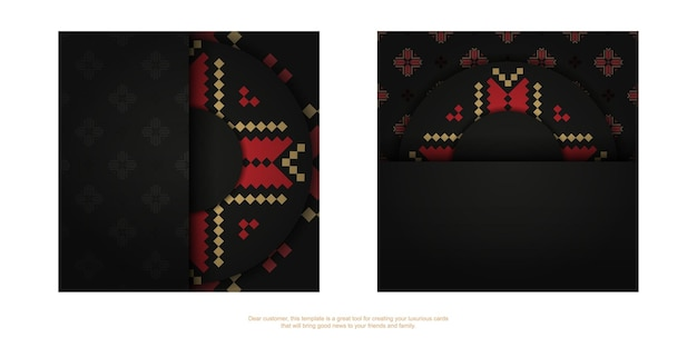 Vector design d'une carte postale de couleur noire avec des motifs slovènes. conception de cartes d'invitation avec un espace pour votre texte et vos ornements vintage.
