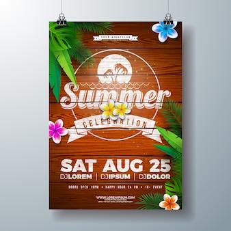 Vector design flyer fête de l'été avec des fleurs et des feuilles de palmier tropical