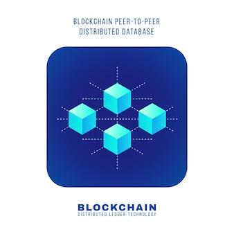 Vector design plat coloré blockchain peer-to-peer principe de base de données distribuée expliquer schéma illustration bleu arrondi icône carré isolé fond blanc