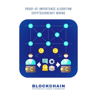 Vector design plat coloré preuve d'importance algorithme crypto-monnaie poi mining principe expliquer schéma illustration bleu arrondi icône carré isolé fond blanc