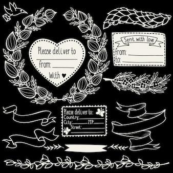 Vector doodle floral éléments de design fixés avec cachets lauriers et branches