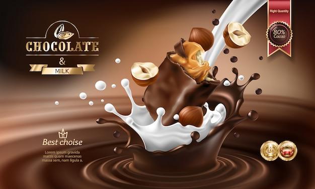 Vector éclaboussures 3d de chocolat fondu et de lait avec un morceau de chocolat en chocolat.