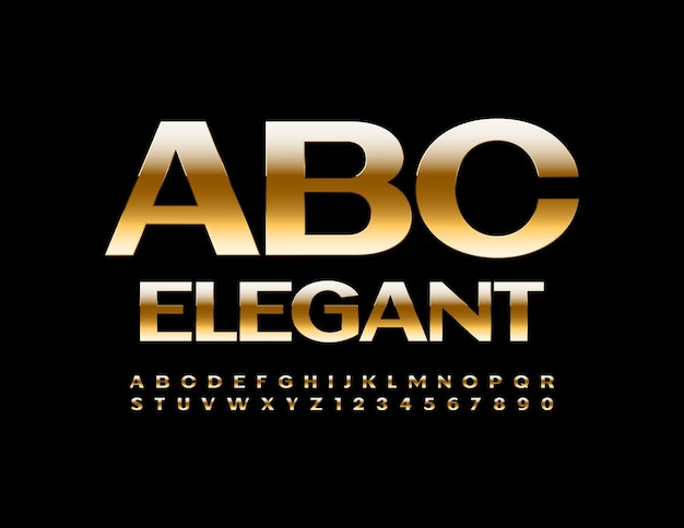 Vector élégant alphabet brillant or police ensemble de style premium de lettres et de chiffres