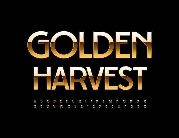 Vector élégant bannière golden harvest chic police moderne lettres et chiffres de l'alphabet de luxe