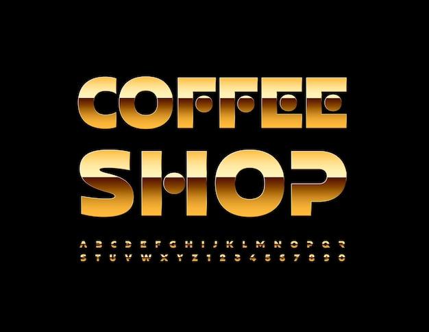 Vector elite logo coffee shop gold creative alphabet letters and numbers set premium brillant police
