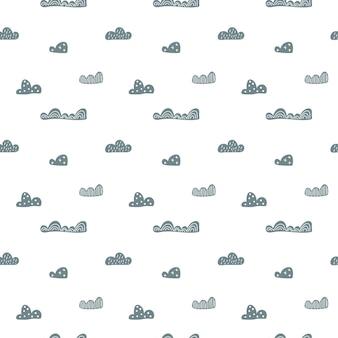 Vector enfant mignon doodle nuages modèle sans couture dans un style scandinave.