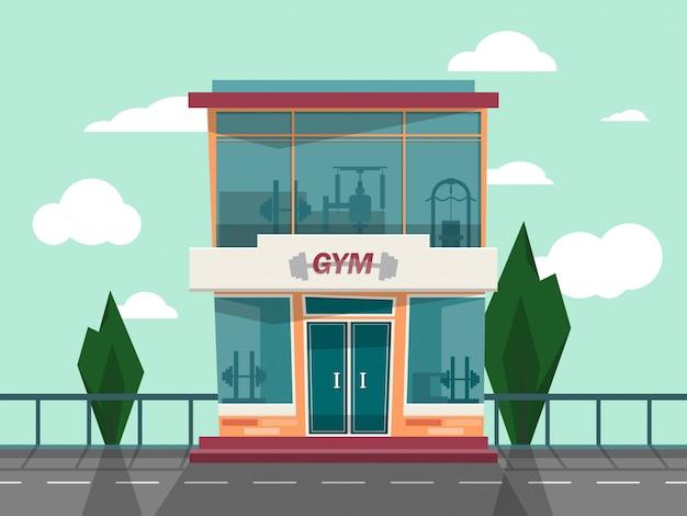 Vector façade de façade de magasin de gym.