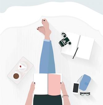 Vector femme assise sur le lit et lire le livre