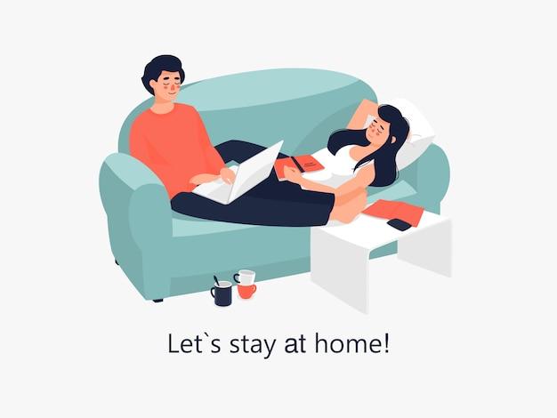 Vector femme dort et l'homme travaille sur ordinateur portable à la maison.