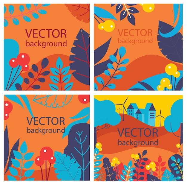 Vector floral abstrait à base de plantes sertie de feuilles d'automne et de fleurs pour bannières, affiches, modèles de conception de couverture et fonds d'écran au design plat
