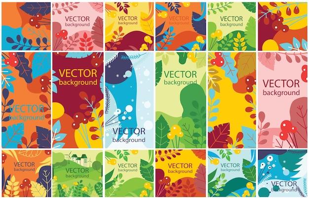 Vector floral eco abstrait à base de plantes sertie de feuilles de saison et de fleurs pour bannières, affiches, modèles de conception de couverture et fonds d'écran dans un design plat moderne