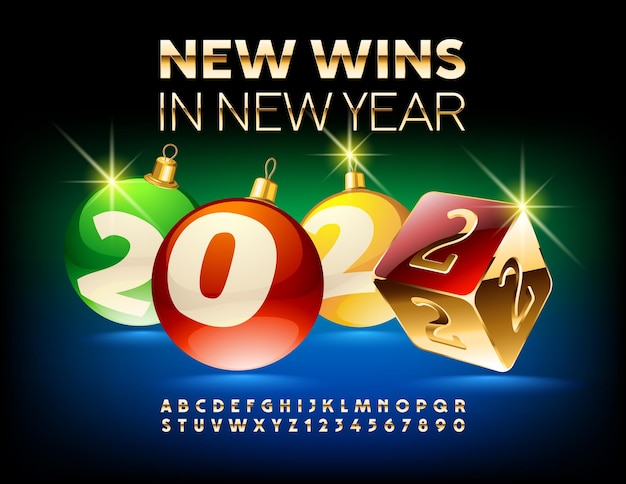 Vector gambe greeting card new wins in new year 2022 christmas balls and casino dice gold alphabet