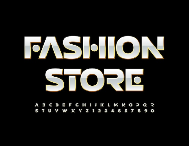 Vector glamour logo fashion store or et blanc chic police elite alphabet lettres et chiffres ensemble