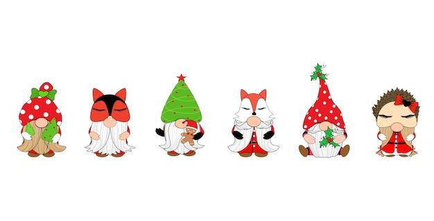 Vector gnome mignon avec chapeau différent arbre renard hérisson joyeux noël clip art vacances de noël