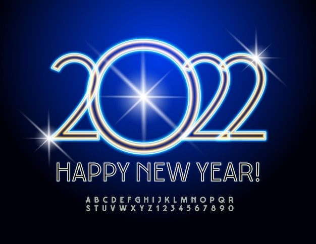 Vector greeting card happy new year 2022 blue neon font electric alphabet letters and numbers