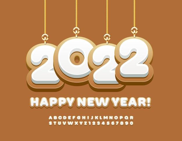 Vector greeting card happy new year 2022 avec des jouets de noël gingerbread alphabet et numbers set